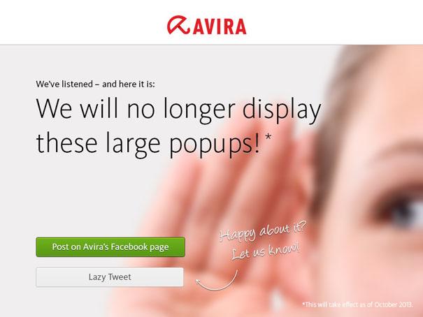 Avira Free Antivirus pop-ups zijn verleden tijd