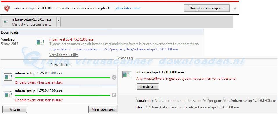 Mislukt - virus gedetecteerd