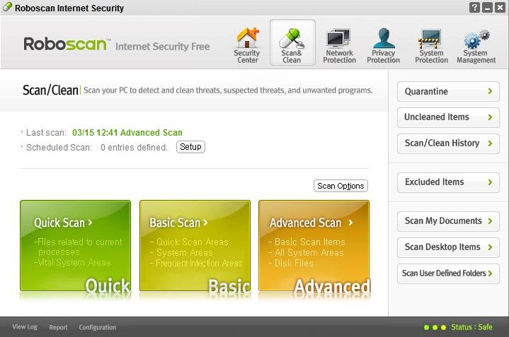 Scannen met Roboscan Internet Security