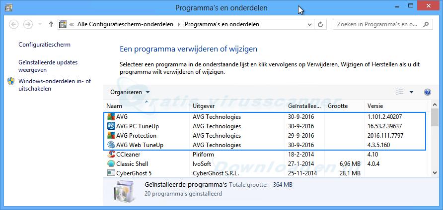 AVG Antivirus verwijderen