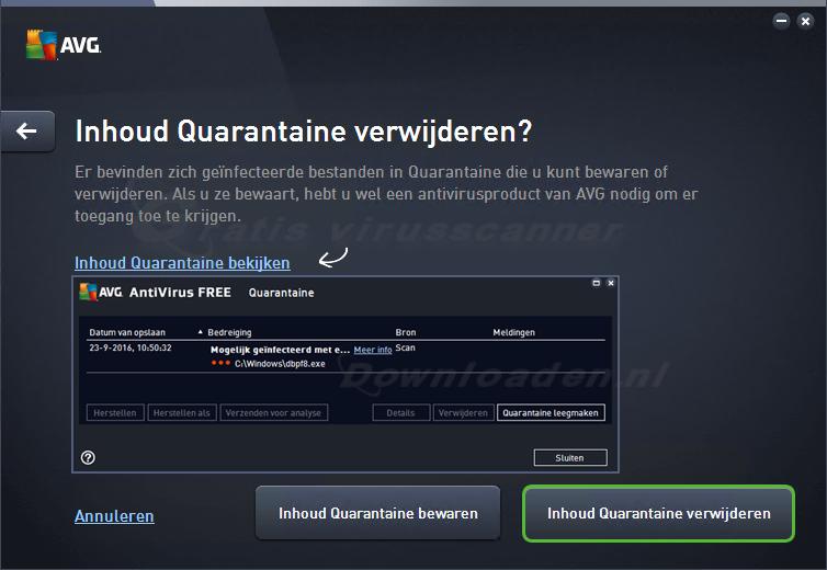 AVG verwijderen - quarantaine