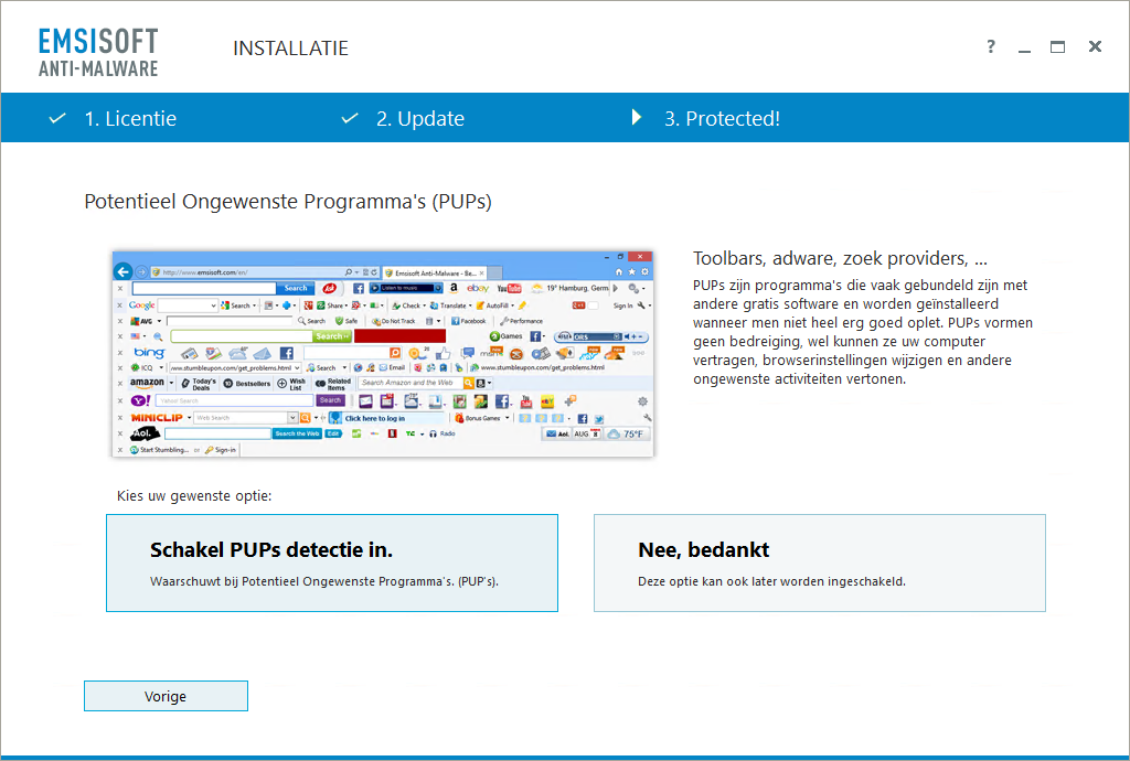Emsisoft Anti-Malware PUP detectie