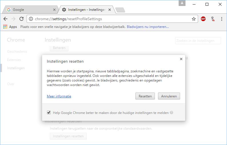 Google Chrome resetten