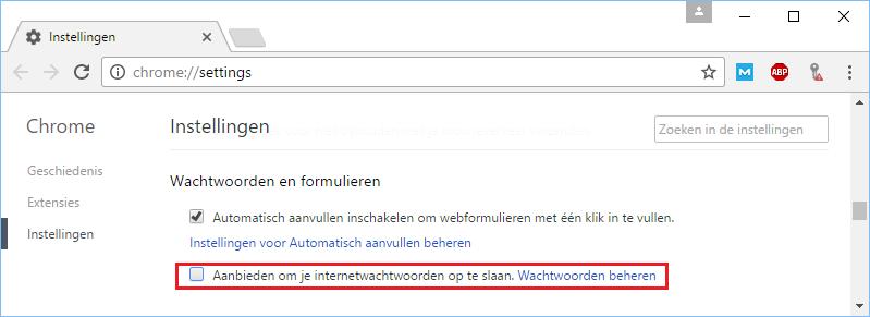 Google Chrome wachtwoorden niet opslaan
