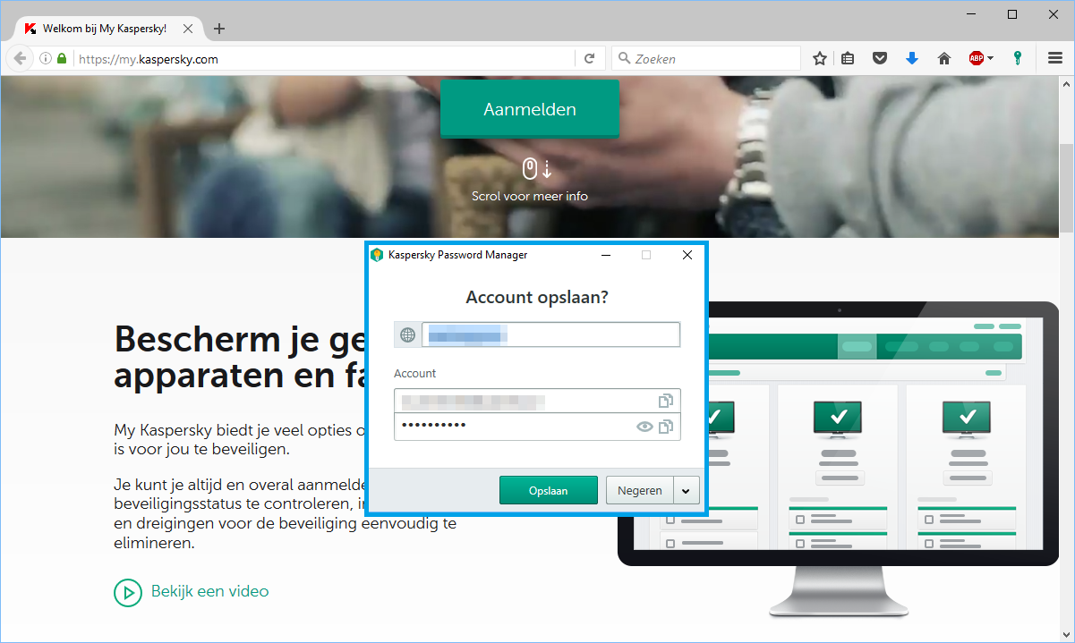 Account toevoegen in de Kaspersky Password Manager