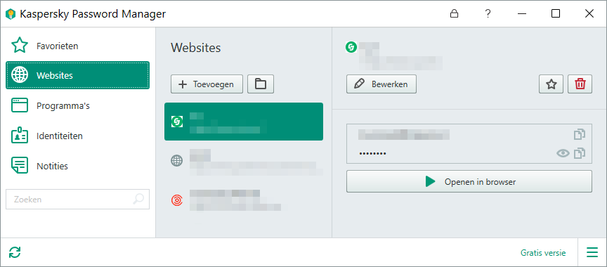 Kaspersky Password Manager hoofdvenster