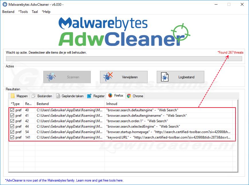 Scannen met Malwarebytes AdwCleaner