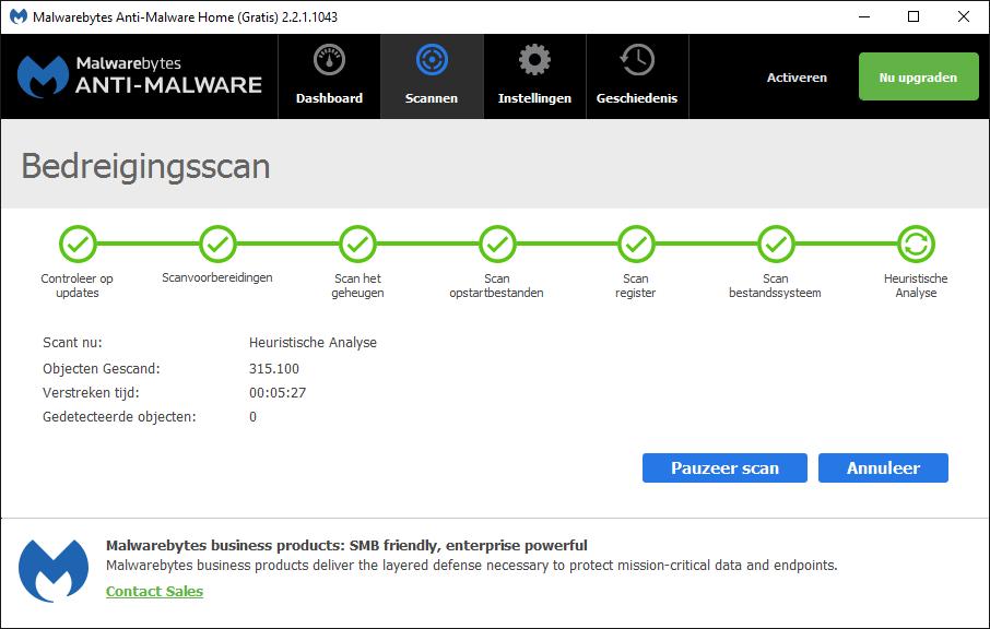 Malwarebytes Anti-Malware Bedreigingsscan