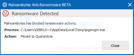 Malwarebytes Anti-Ransomware Detected