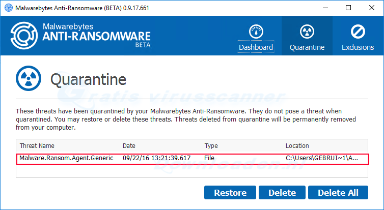 Malwarebytes Anti-Ransomware Quarantaine
