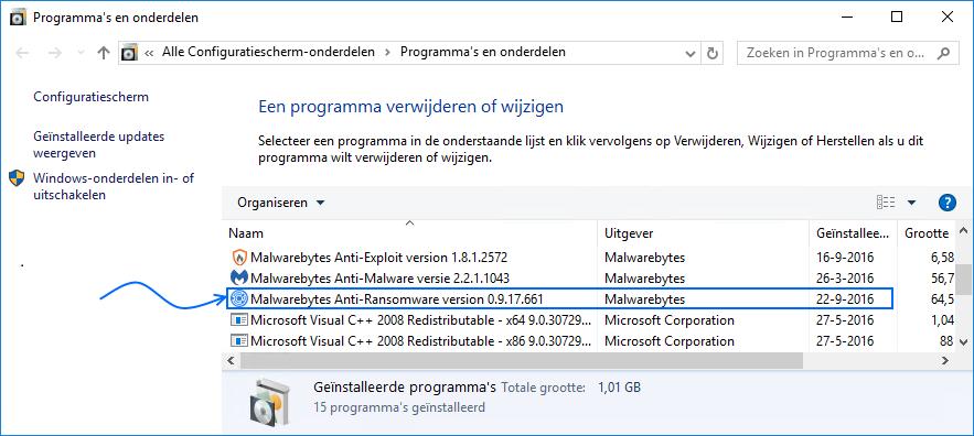 Malwarebytes Anti-Ransomware verwijderen