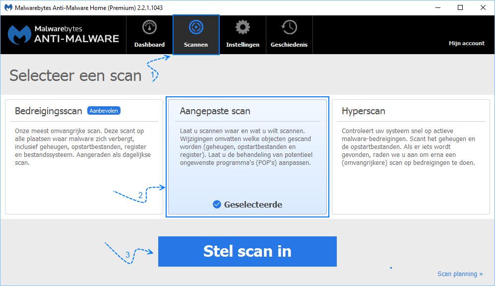 Malwarebytes aangepaste scan instellen