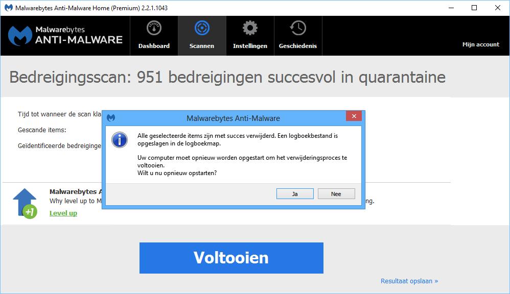 Malwarebytes scan voltooien