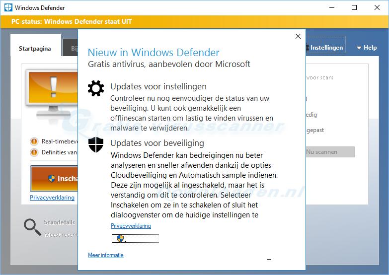 Nieuw in Windows Defender