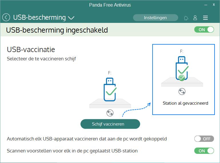 Panda Free Antivirus USB-bescherming