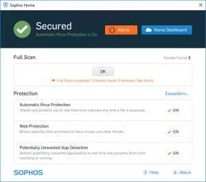 Sophos Home alters