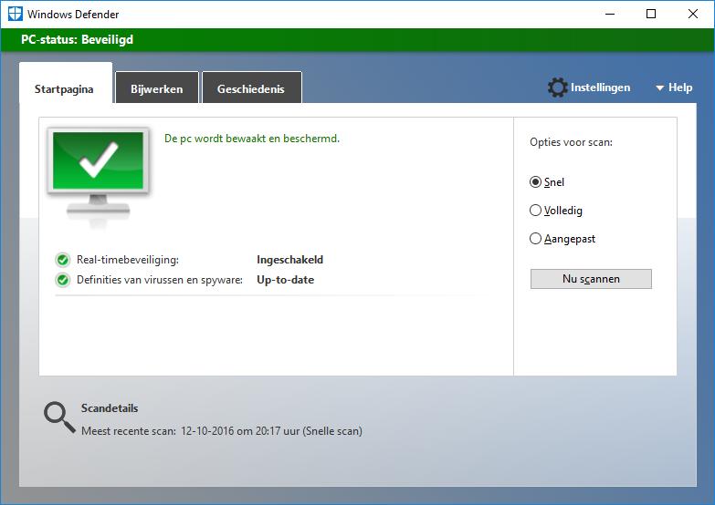 Windows Defender beveiligd