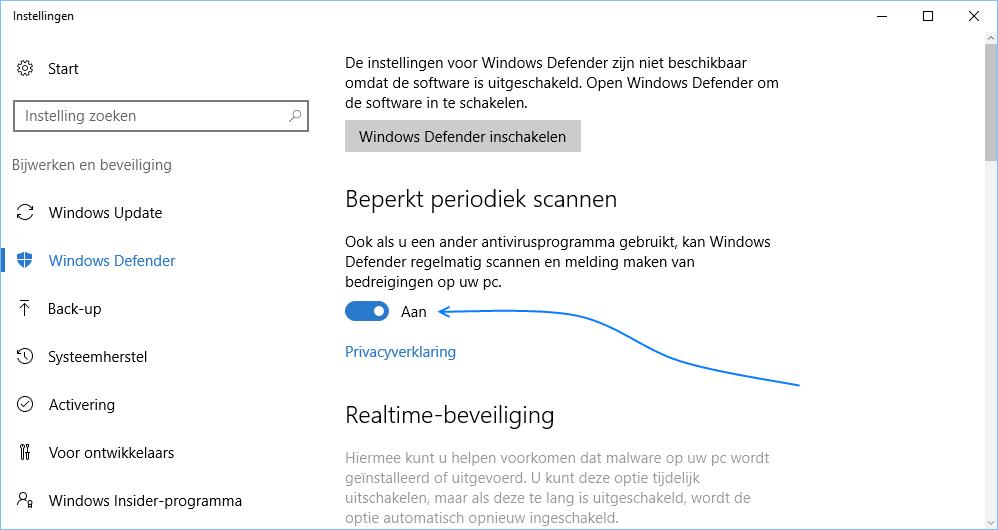 Windows Defender - Beperkt periodiek scannen inschakelen