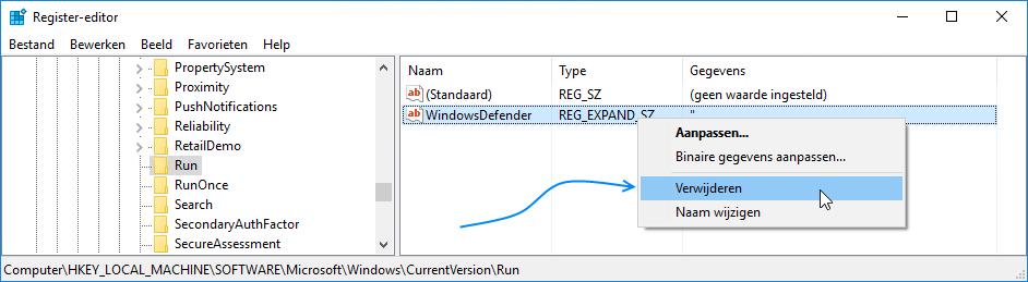 Windows Defender pictogram verbergen