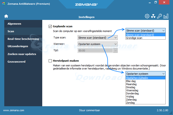 Zemana AntiMalware geplande scan