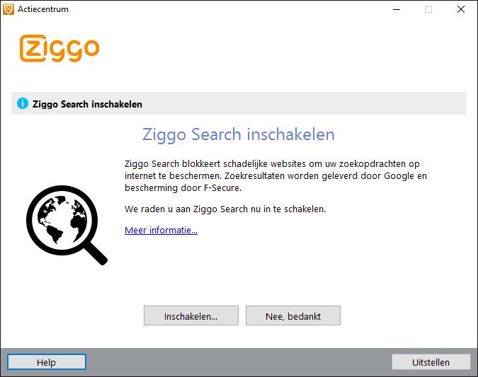 Ziggo Search Inschakelen