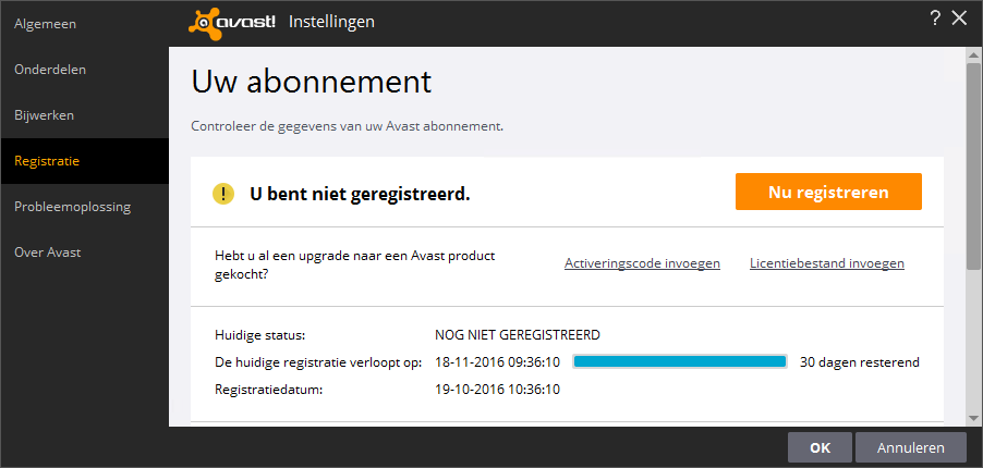 avast! Free Antivirus registreren